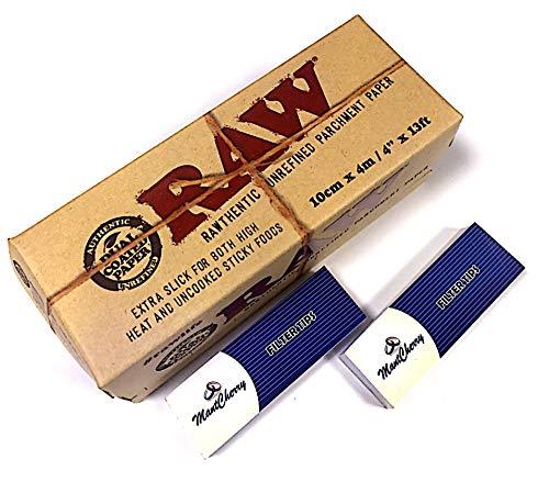 Raw Marke Rawthentic UNREFINED Pergament Papier (Neue Produkt von Raw) 10cm x 4m mit Mont Cherry 3D Lesezeichen von Trendz
