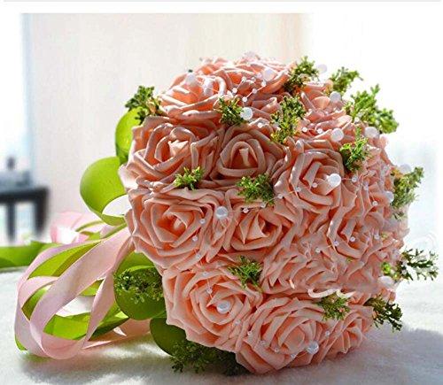Simulation mousse Roses mariée tenant des fleurs bouquet de mariage fleur artificielle cadeau de mariage (Color : Rose)