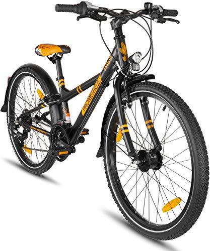 rrad 24 Zoll Jungen Mädchen Alu Fahrrad Schwarz Matt Orange ab 8 Jahre mit 21-Gang Gangschaltung - 24zoll BMX Modell 2019 ()