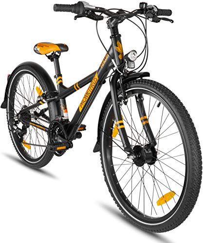 Prometheus Kinderfahrrad 24 Zoll Jungen Mädchen Alu Fahrrad Schwarz Matt Orange ab 8 Jahre mit 21-Gang Gangschaltung - 24zoll BMX Modell 2019 -