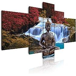 Dekoarte 18 - Cuadro moderno en lienzo de 5 piezas, paisaje con buda esilo zen-fengshui, 150x80 cm.