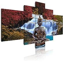 DekoArte 18 - Quadro moderno di Budda con cascata, tela a 5 pezzi, 180 x 85 cm