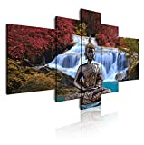 Dekoarte 18 - Tableau moderne sur toile monté sur cadre en bois 5 pièces, style zen - feng shui bouddha, 180x85cm...