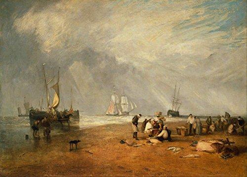 J.M.W Turner il mercato del pesce a Hastings spiaggia C1810Riproduzione artistica formato A3