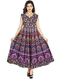 Mahi Fab Women's Cotton Printed Long Dress (MF_Dress_05, Purple, Free Size)
