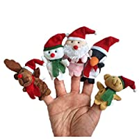 Spritumn Education Toys Story Time Christmas Santa Claus and Friends Finger Puppets Toy,Finger Puppet Set Small Plush Toy Hand Puppet For Children Kids Party Favours Birthday Party Bag Fillers (5 pc)