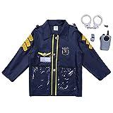 Freebily Enfant Cosplay Costume Police Officer Déguisement Chef des Pompiers Costume Chirurgien Tenus Enfant Vêtement de Carnaval Halloween Fête Déguisement 3-6 Ans Bleu marine Officier de Police