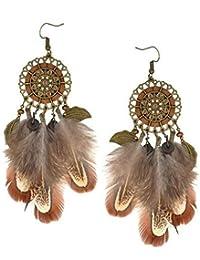a3193e07a670 Pendientes largos de plumas de color marrón para exageración bohemia