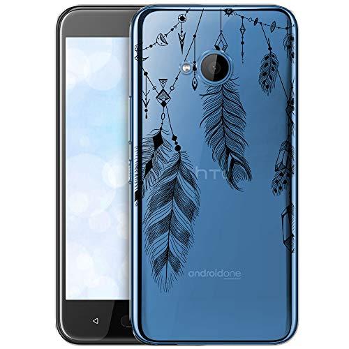 OOH!COLOR Handyhülle HTC U11 Life Hülle Silikon Case Handy Tasche transparent Bumper mit Motiv Feder