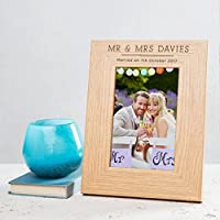 "Personalised Wooden Photo Frame / Picture Frame - 6x4, 7x5, 8x6"" Frames Available - Personalised Gift For ANY Occasion e.g. Best Friend Photo Frame - Family Photo Frame - Mr and Mrs Wedding Day Photo Frame -"