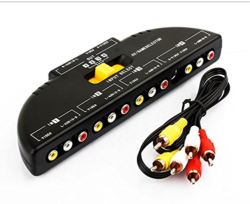 Cinch-Splitter mit 4-Wege-Audio-, Video-RCA-Switchbox RCA-Kabel , 4-Wege-Port-Splitter RCA-Audio-Video-AV-Switchbox Cinch-av-splitter