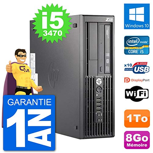HP PC Workstation Z220 SFF Core i5-3470 RAM 8Go Disque Dur 1To Windows 10  WiFi (Reconditionné)