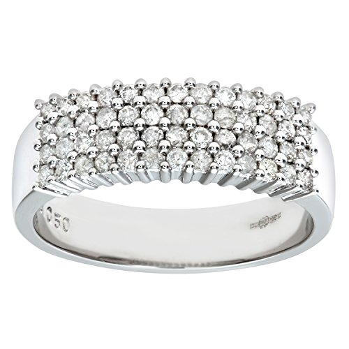 Naava Women 9 ct White Gold Diamond Ring, Size Q