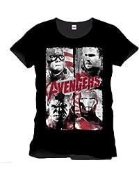 The Avengers Poster rétro officielle pour New T-Shirt homme Noir Taille L