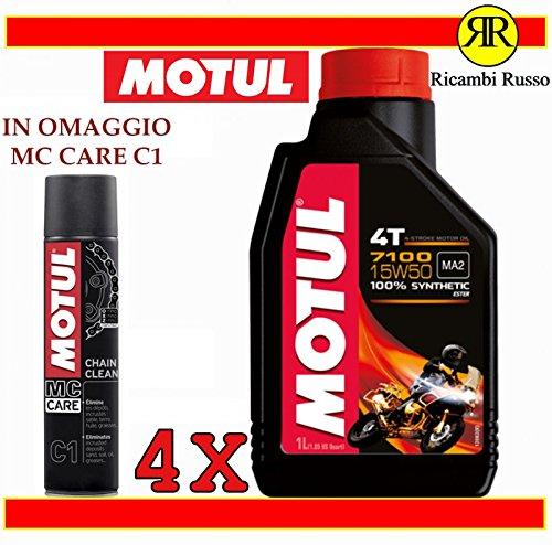 Motul 7100 15w50 olio motore moto 4 tempi litri 4 + OMAGGIO MC Care C1 Ch
