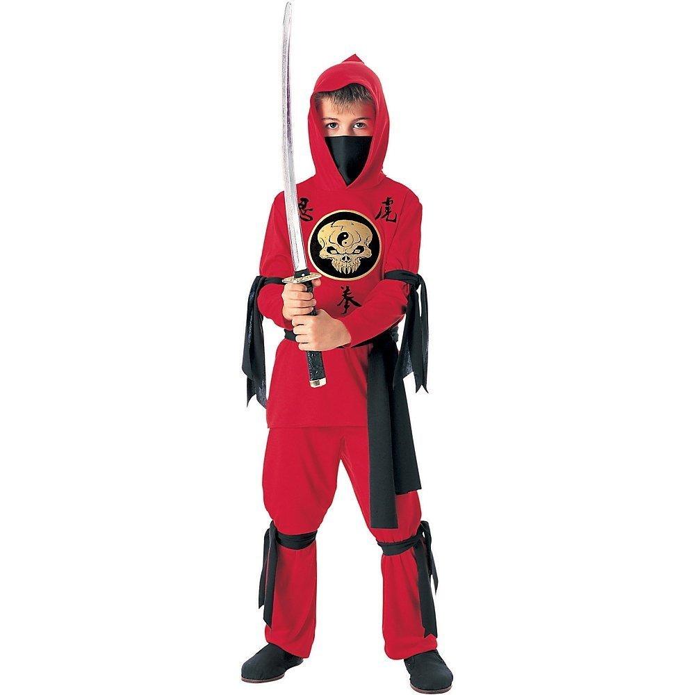 Tante-Tina-Ninja-Kinderkostm-Rot-und-Schwarz-M-Gr-128-5-7-Jahre