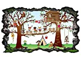 3D Wandtattoo Kinderzimmer Cartoon Kinderspielplatz Kinder Baum Baumhaus Sonne Zelten Wand Aufkleber Wanddurchbruch sticker selbstklebend Wandbild Wandsticker Wohnzimmer 11P086, Wandbild Größe F:ca. 162cmx97cm