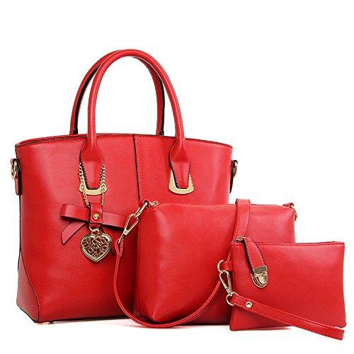 fanhappygo Fashion Retro Leder Damen elegant Schals OL Pendler taschen Schulterbeutel Umhängetaschen Abendtaschen rot