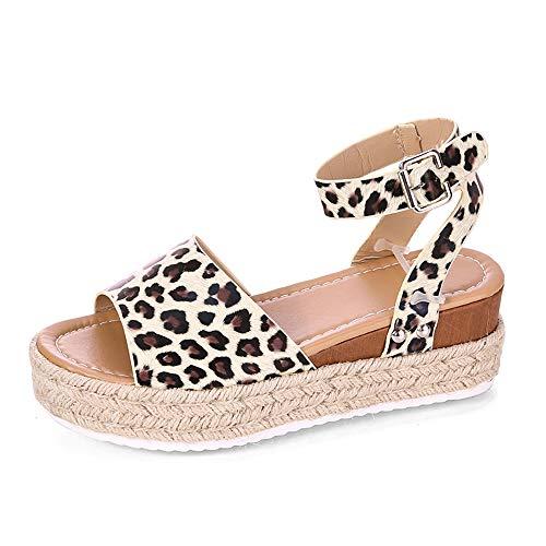 Damen Keilsandalen Sommer Keil Peeptoe Fesselriemen Schnalle Sandaletten Elegant Flatform Schuhe Women's Lulu Cross Slide Open Toe Sandals,Leopard,43 -