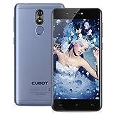 CUBOT R9 3G Smartphone Android 7.0 5.0 pulgadas IPS pantalla MTK6580A Quad Core 1.3GHz 2GB RAM 16GB ROM 13.0MP Cámara trasera de huellas digitales escáner-Azul