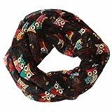 YEBIRAL Frauen Mode EulenMuster Druck Schal Damen Herbst Frühling Winter Halstuch Weiche warme Schal