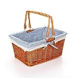 GYFSLG Picknickkorb-Aufbewahrungskorbausgangs-Aufbewahrungskiste Im Freienpicknick Mit Dem Innenfutter Der Flechtweide