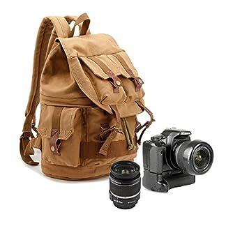 Yimidear DSLR Cámara Reflex Lona Bolsos de Hombro Mochila con Tapa Impermeable y Bolsa de Depósito Interior para Sony Canon Nikon Olympus