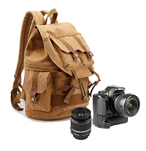 Imagen de múltifunciones impermeable lona  para cámara y viaje dslr slr cámara bolsa con cubierta caqui