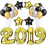 Howaf Silvester 2019 Party Deko Set, 40Inch Gold Zahlen 2019 Folien Ballon XXL Riesenballon Neujahr Silvesterdeko und 7cm Mylar Stern Luftballons und Schwarz Gold Silber Latex Ballons