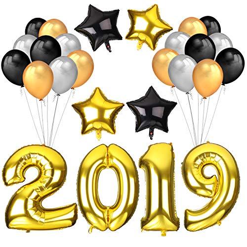 Howaf Nochevieja 2019 decoración de año Fiestas, 40Inch número 2019 Foil Globos y 18Inch Globos en Forma de Estrella (4pcs) Dorados Negro Plata de Látex Globos (30pcs)