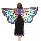 ZEZKT Schmetterlings Flügel Butterfly Wings Shawl Fairy Ladies Nymph Pixie Costume Accessory Große Schmetterlingsflügel Schmetterling Kostüm Damen Karneval Cosplay Accessoires Umhang (147*70CM, N)