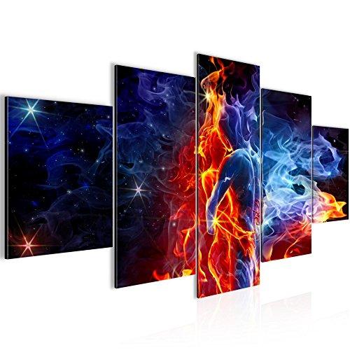 Bilder Feuer und Eis Figuren Wandbild 200 x 100 cm Vlies - Leinwand Bild XXL Format Wandbilder Wohnzimmer Wohnung Deko Kunstdrucke Rot Blau 5 Teilig - MADE IN GERMANY - Fertig zum Aufhängen 401051a