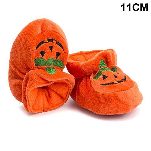 Metyere 1 Paar Süß Kinder Babyschuhe Pumpkin Warm Halten rutschfeste Erste Walkers Learn Atmungsaktiv für Halloween - 11CM