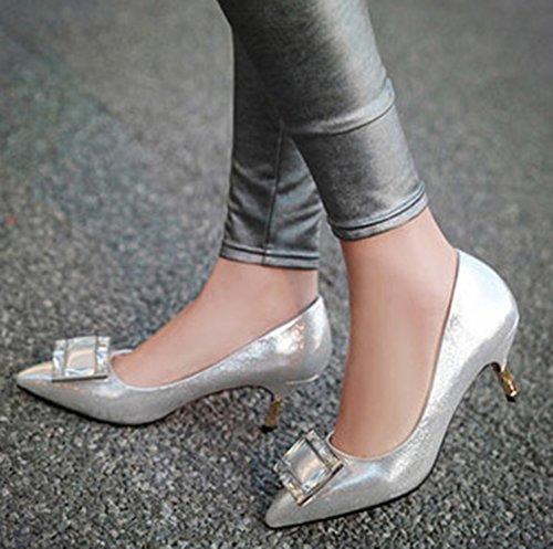 Aisun Damen Spitze Zehe Pailletten Modisch Sexy Braut Kitten Heels Pumps Silber