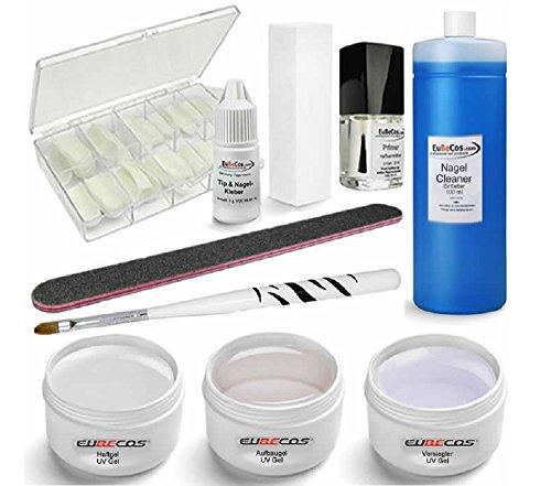 Professional Uv Gel (UV GEL Starterset PLUS Haftgel Aufbaugel Finish Cleaner Tips Kleber u. Anleitung)