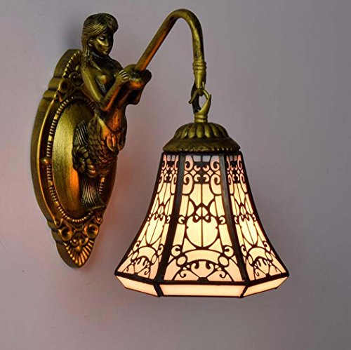Glight Tiffany-Art-Wandlampe, europäische kreative Buntglas-Kupfermaschen-Kunst-Wand-Lampe, arabische Halal-Art-Meerjungfrau-Entwurfs-Wandleuchten für Wohnzimmer-Schlafzimmer-Nachtbar-Gasthaus -
