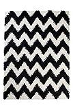 Tapiso Scandinavia Shaggy Teppich Hochflor | Designer Schwarz Weiss mit Modern Zick Zack Muster | Weich 5 cm Langflor Teppiche für Wohnzimmer, Schlafzimmer | ÖKOTEX 160 x 220 cm