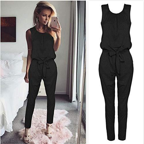 LIGHTBLUE Womens Sleeveless Jumpsuit Lässige O Neck Belted Waist Romper Jumpsuits, schwarz, XL - Womens Ein Stück Kleidung
