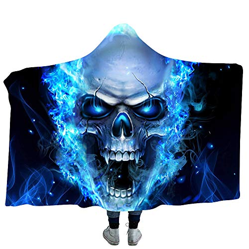 YEARGER KapuzeDecke Halloween 3D Blue Fire Skull Microfaser Flanell Kuscheldecke Wearable StandDecken/Sofadecke/Reisedecke