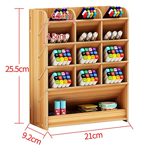 Wooden Pen Holder Storage Box, Multifunctional Desk Organiser Desk Tidy Pen Holder for Home, Office and School (Cherry Wood)