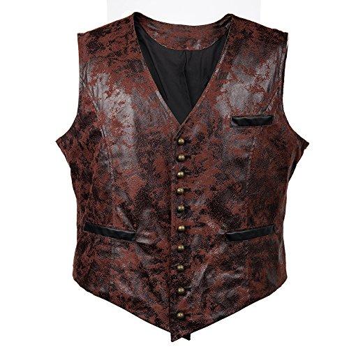 Bslingerie® Herren Steampunk Gothic Faux Leather Kostüm Korsett Weste (M, Rot)
