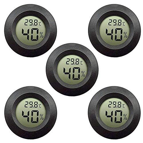 EEEKit Hygrometer Thermometer Digitaler LCD-Monitor Innenluftfeuchtigkeitsmessger?t Messger?t für Luftbefeuchter Luftentfeuchter Gew?chshaus Keller Babyroom, Schwarz Runde (5-Pack)