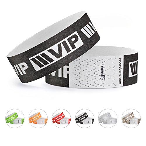 linie zwo®, Pack de 100 pulseras de seguridad Tyvek® 19 mm - VIP New Design, Negro