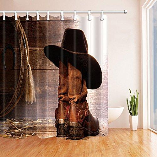 BuEnn Western Cowboy bei und Cowgirl Stiefel auf hölzernen Duschvorhang Mehltau beständig Polyester Stoff Badezimmer Dekorationen Bad Vorhänge Haken enthalten 71X71 Zoll (Cowgirl Stiefel Rosa)