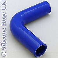 Tubo reforzado de silicona con forma de 90 grados70 mm, color azul.