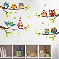 ufengke home Colourful Owls on Tree Twigs Branches Cartoon Wall Art Stickers Colourful Decorative Removable DIY Wall Decals Nursery, Living Room, Children