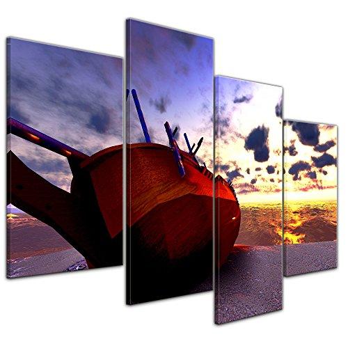 Wandbild Boot am Strand - 120x80 cm quer mehrteilig Leinwandbilder Bilder als Leinwanddruck Fotoleinwand Landschaften Küste - Boot im Sonnenuntergang