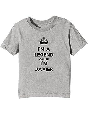 I'm A Legend Cause I'm Javier Bambini Unisex Ragazzi Ragazze T-Shirt Maglietta Grigio Maniche Corte Tutti Dimensioni...
