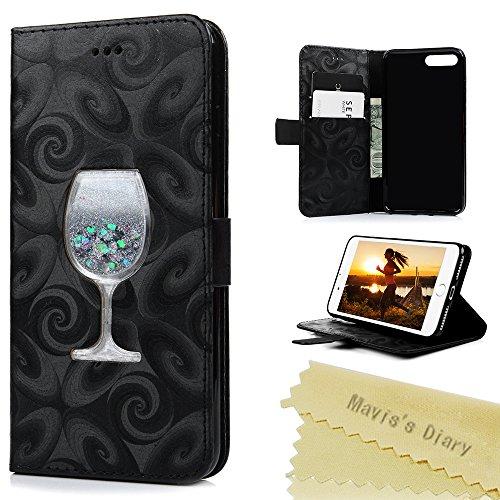 Mavis's Diary iPhone 7 Plus(5,5 Zoll) Hülle Lila Tasche Flüssigkeit Treibsand Wein Glass Sanduhr PU Ledercase Cover Schutzhülle Scratch Brieftasche Case Hülle mit Kartenfächer und Bargeld Telefon-Kast Schwarz