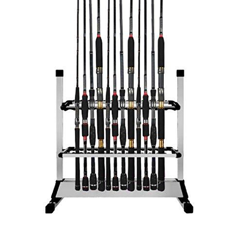 Triplespark, portacanne da pesca, capacità 24 pezzi, compatibile con tutti i tipi di canna, in lega di alluminio
